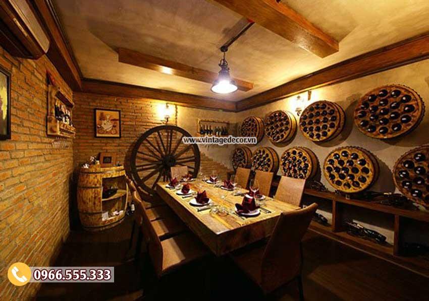 Mẫu thi công hầm rượu trang trí phong cách cổ điển HR102