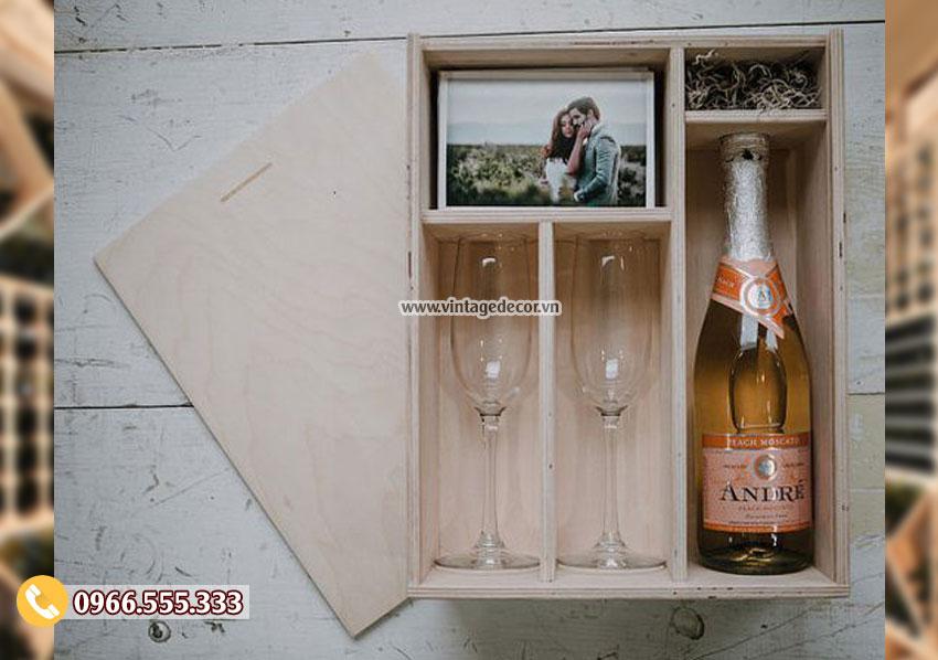 Mẫu hộp gỗ đựng ly rượu HDR10