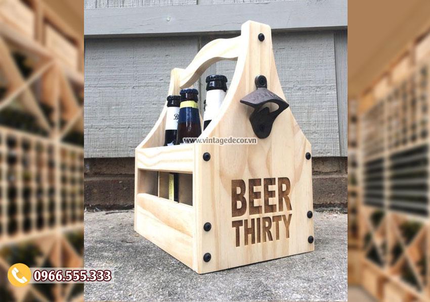 Mẫu hộp đựng rượu vang bằng gỗ thông HDR11