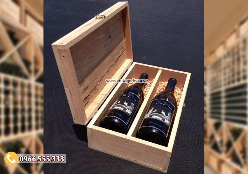Mẫu hộp đựng rượuvang bằng gỗ HDR12