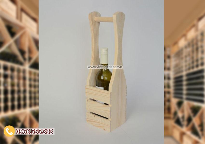 Mẫu hộp đựng rượu gỗ thông mini HDR13