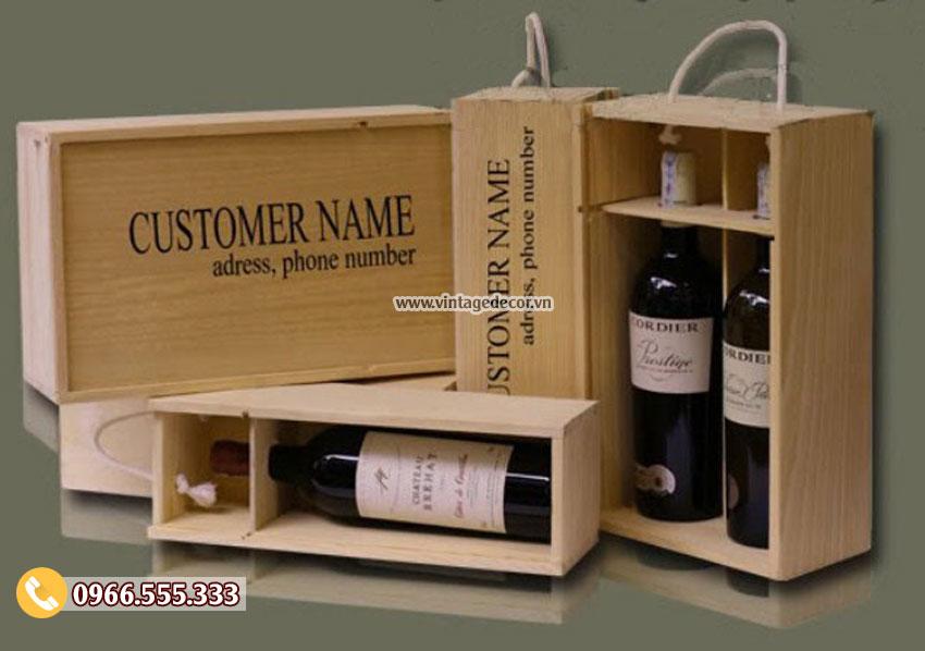 Mẫu hộp đựng rượu bằng gỗ HDR02
