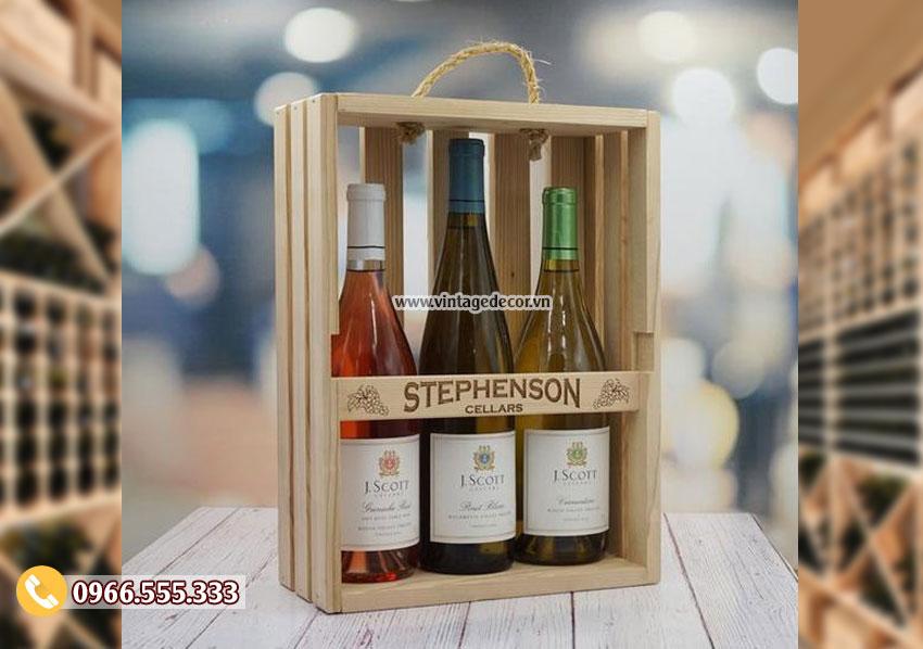 Mẫu hộp đựng rượu bằng gỗ thông HDR21
