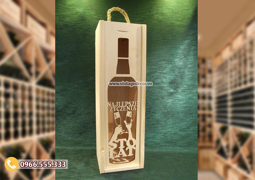 Mẫu hộp đựng rượu gỗ mini HDR24
