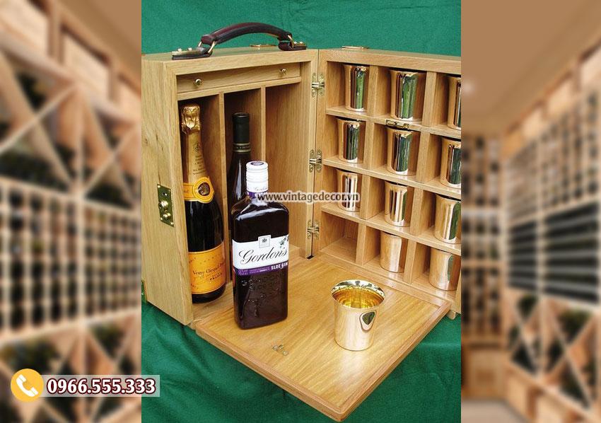 Mẫu hộp gỗ đựng ly rượu đẹp HDR27