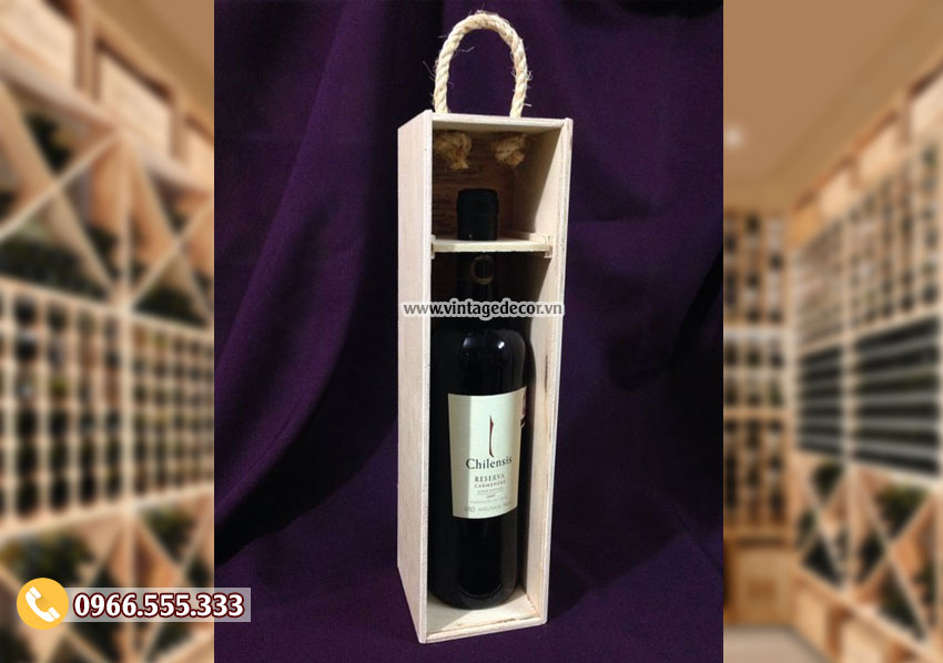 Mẫu hộp gỗ thông đựng rượu mini HDR28