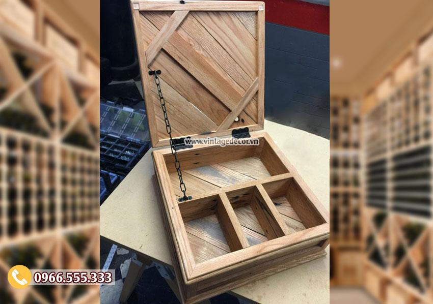 Mẫu hộp gỗ đựng rượu đơn giản HDR05