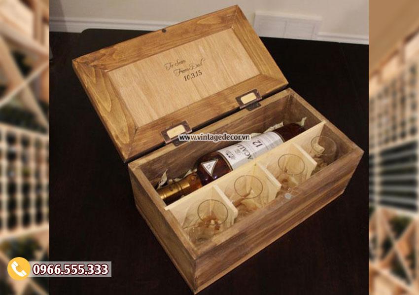Mẫu hộp đựng rượubằng gỗ HDR26