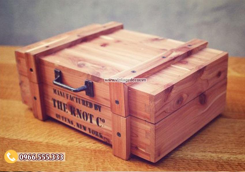 Mẫu hộp gỗ đựng rượu vang HDR31