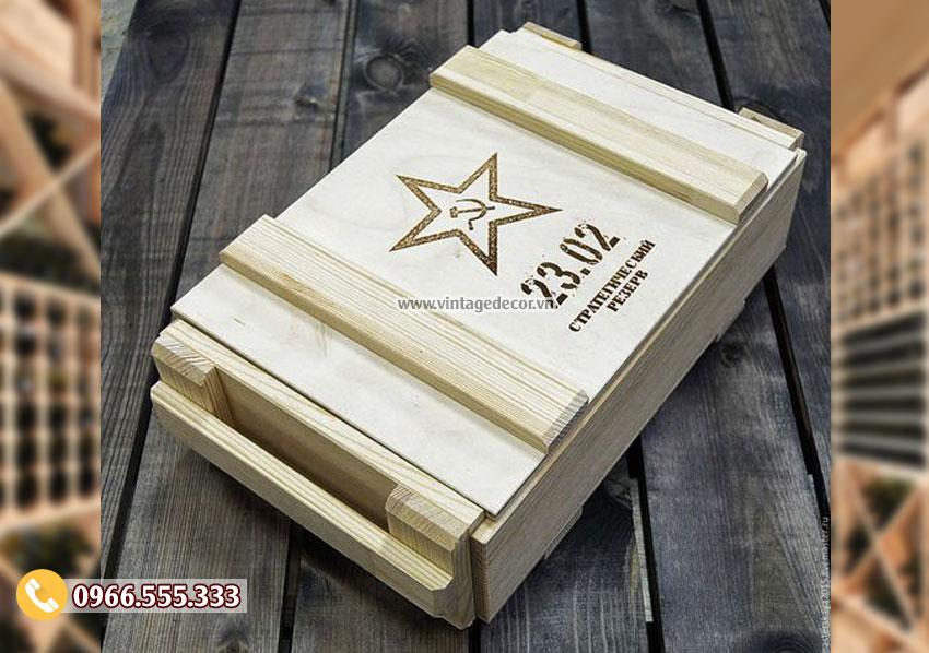 Mẫu hộp gỗ đựng rượu tại hà nội HDR32
