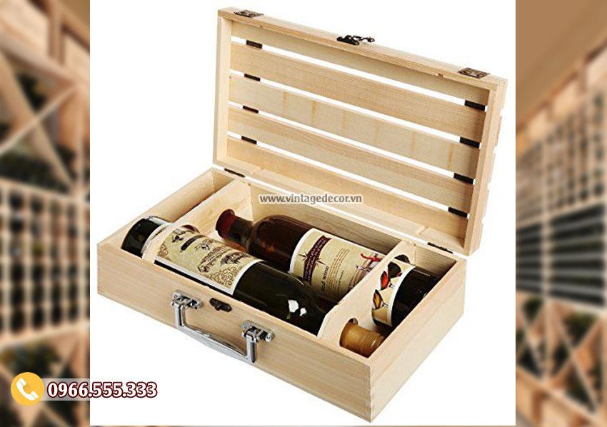 Mẫu hộp đựng rượu gỗ thông đôi đẹp HDR33