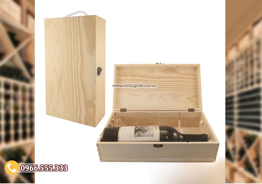 Mẫu hộp gỗ thông đựng rượuđôi HDR39