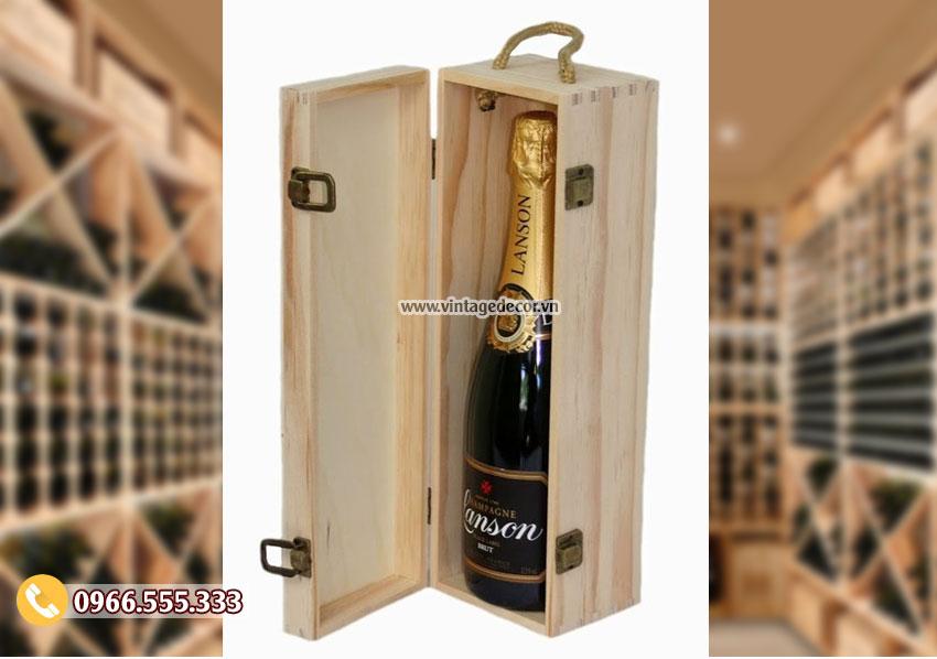 Mẫu hộp gỗ đựng rượu vang HDR40
