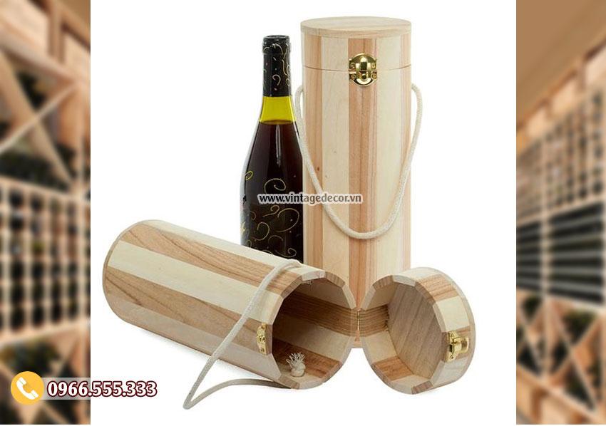 Mẫu hộp đựng rượu bằng gỗ mini đẹp HDR42