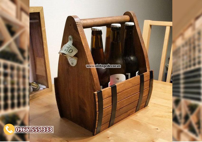 Mẫu hộp đựng rượu gỗ thông ngược thời gian HDR48