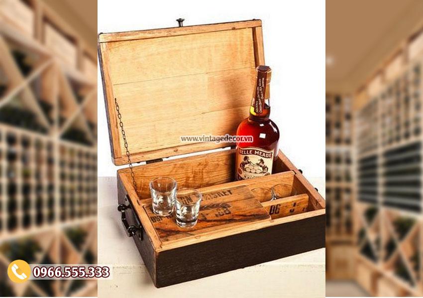 Mẫu hộp gỗ sồi đựng ly rượu HDR51