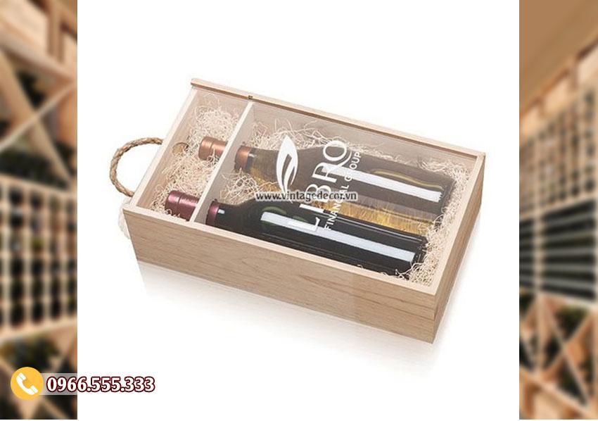 Mẫu hộp đựng rượu bằng gỗ thông đẹp HDR50