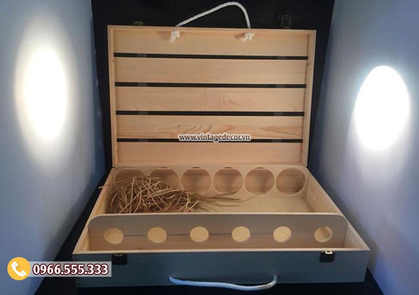 Mẫu hộp gỗ đựng chai rượu HDR52