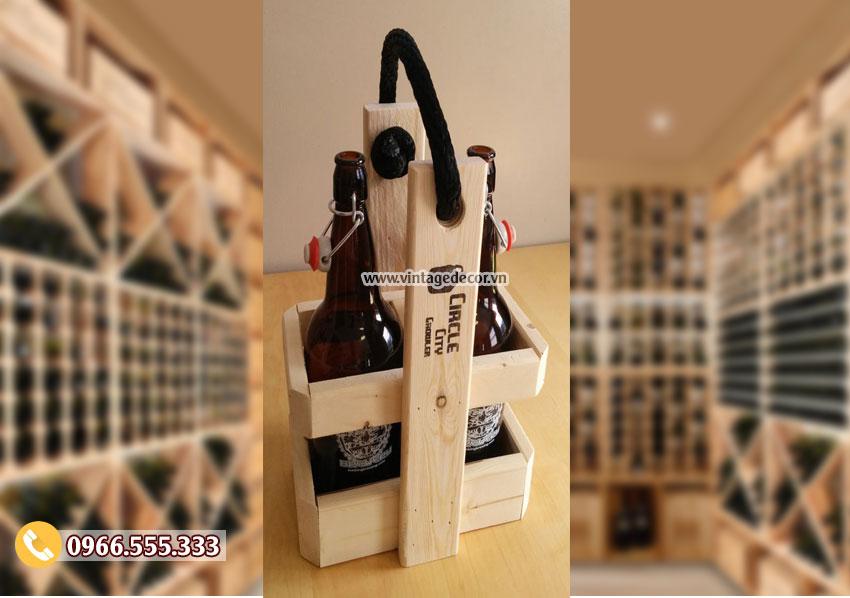 Mẫu hộp đựng rượu gỗ đôi HDR56