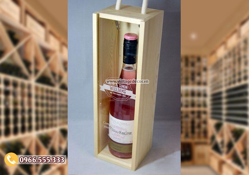 Mẫu hộp đựng rượu vang bằng gỗ HDR59