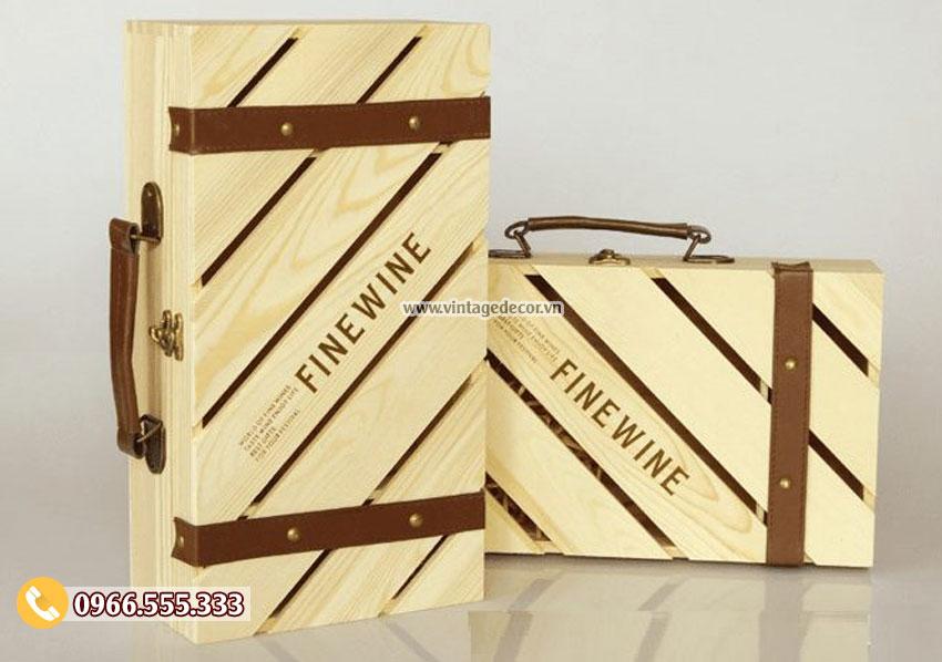 Mẫu hộp đựng rượu bằng gỗ đẹp HDR60