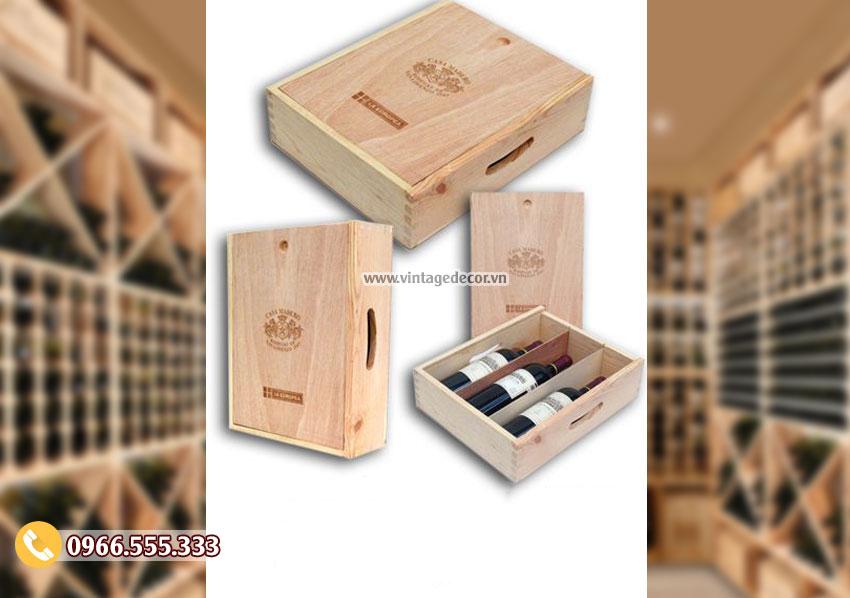 Mẫu hộp gỗ thông đựng rượu HDR62