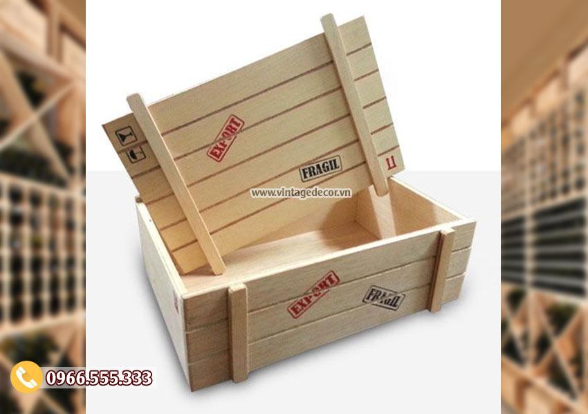 Mẫu hộp đựng rượu gỗ thông HDR63