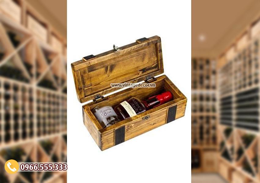 Mẫu hộp gỗ đựng rượu cổ điển HDR65