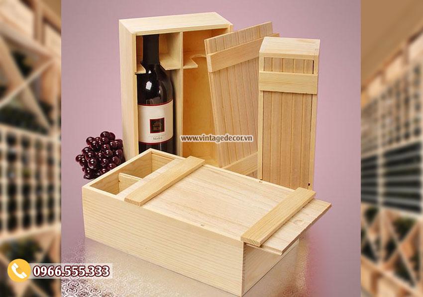 Mẫu hộp gỗ thông đựng rượuđẹp HDR66