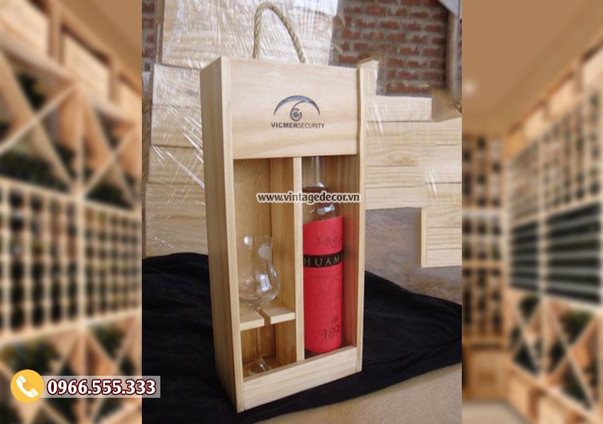 Mẫu hộp gỗ đựng ly rượu mini HDR69