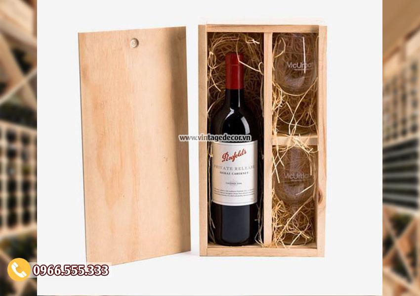 Mẫu hộp gỗ thông đựng ly rượu HDR70