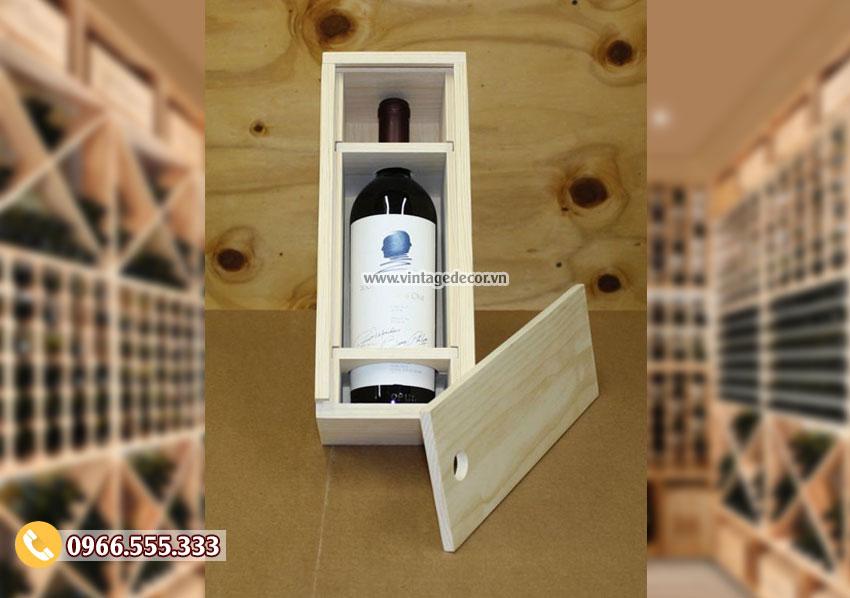 Mẫu hộp đựng rượu gỗ thông đơn giản HDR71
