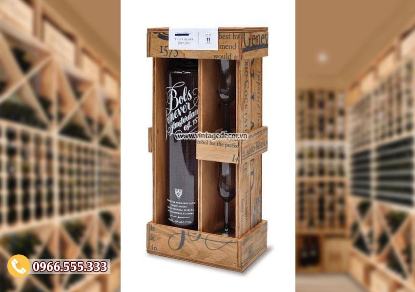 Mẫu hộp gỗ đựng rượu phong cách cổ điển HDR74