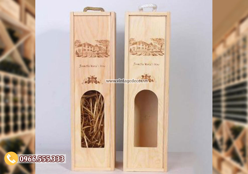 Mẫu hộp gỗ đựng rượumini đẹp HDR78