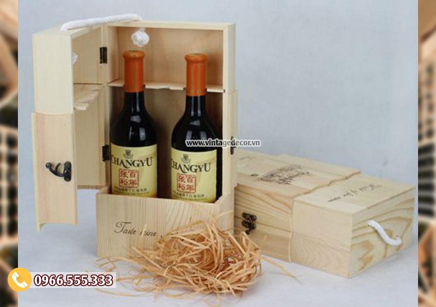 Mẫu hộp gỗ đựng rượu quà tặng HDR79
