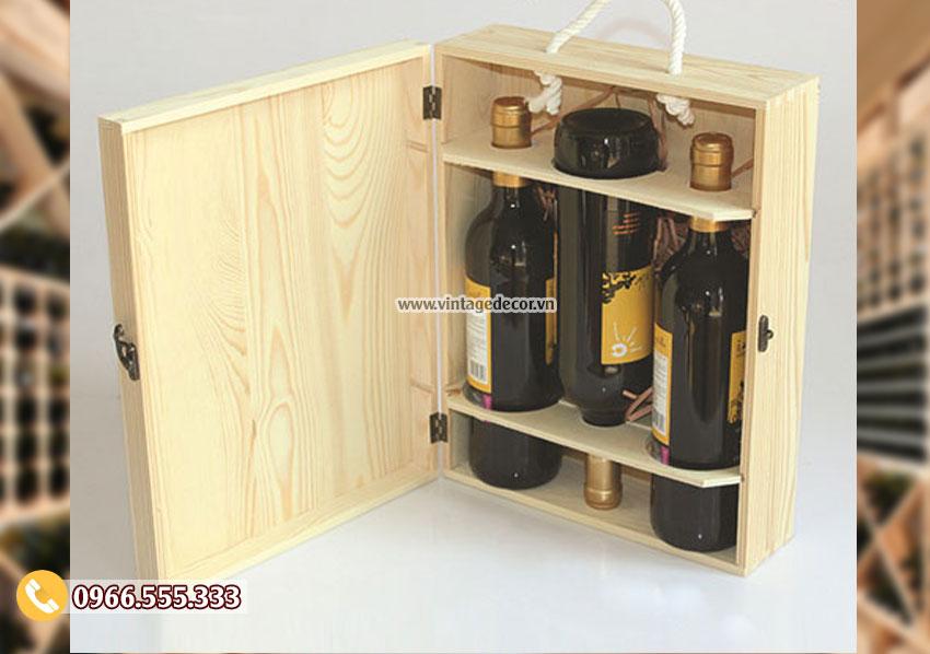 Mẫu hộp gỗ thông đựng rượuđẹp HDR87