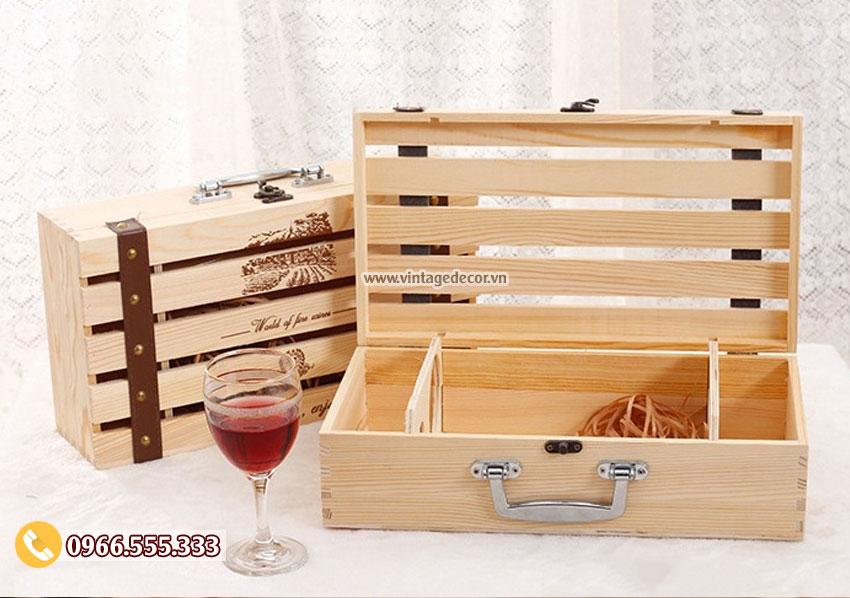Mẫu hộp đựng rượu vang gỗ thông tại hà nội HDR80