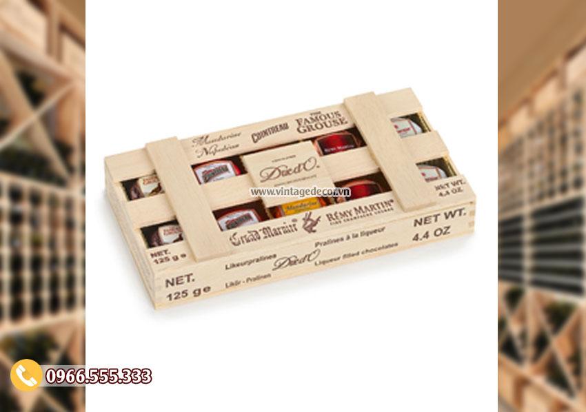 Mẫu hộp gỗ thông đựng rượuđơn giản HDR88