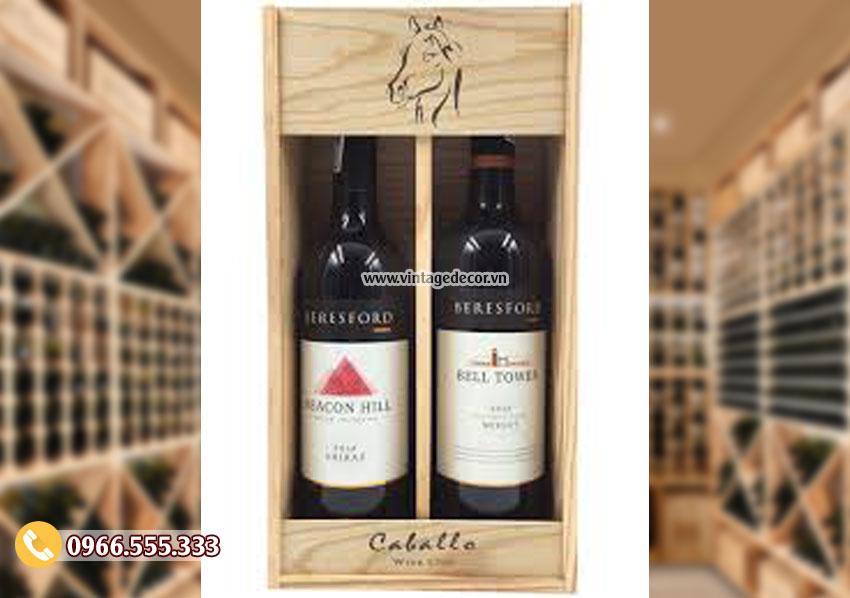 Mẫu hộp đựng rượu bằng gỗ HDR89