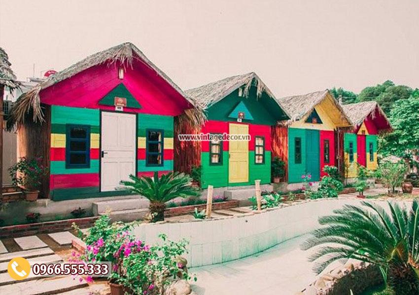 Mẫu bungalow khu du lịch sinh thái nhiều màu sắc NB17