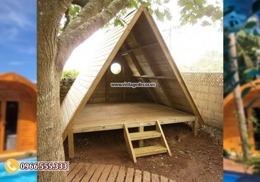 Mẫu nhà gỗ thông đơn giản mini NB05