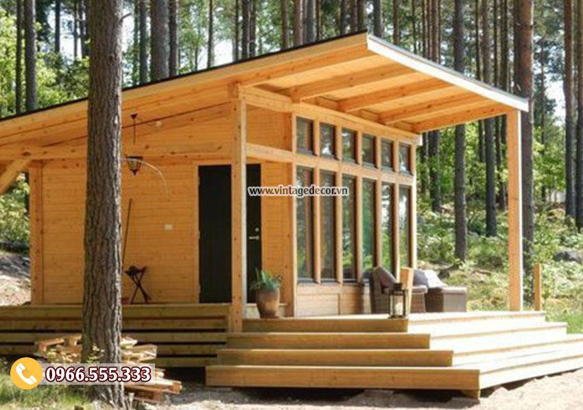 Mẫu bungalow nhà gỗ thông đơn giản NB38