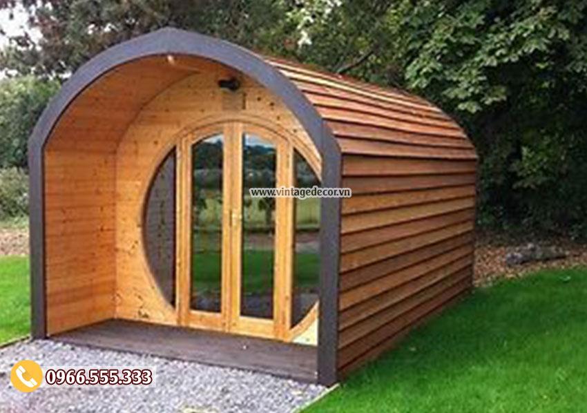 Mẫu thiết kế nhà gỗ homestay mái vòm NB40