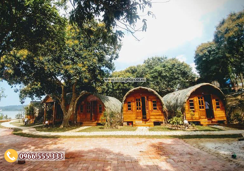 Mẫu thiết kế nhà gỗ thông mini mái vòm NB53