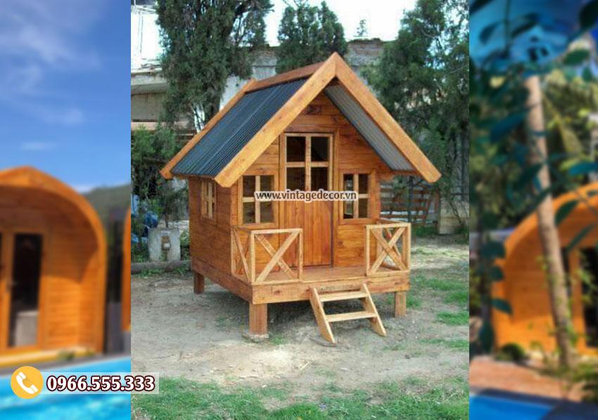 Mẫu nhà gỗ thông đơn giản nhỏ NB55