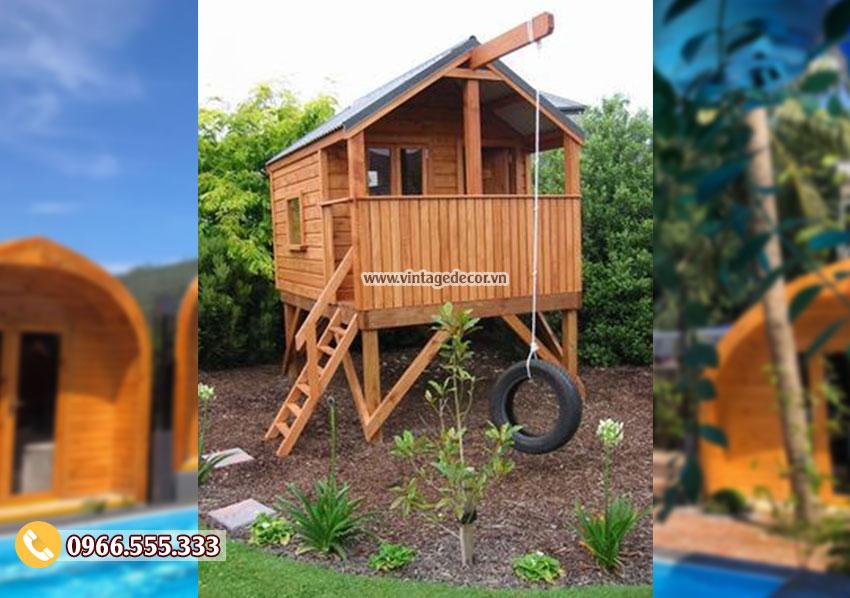 Mẫu nhà gỗ mini đơn giản trong vườn NB73