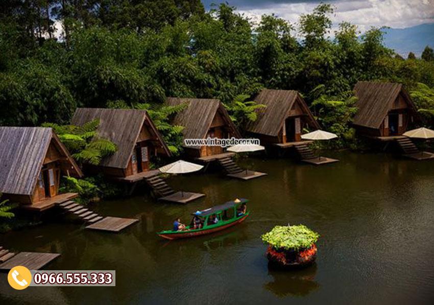 Mẫu thiết kế nhà gỗ homestay khu du lịch ven sông NB37