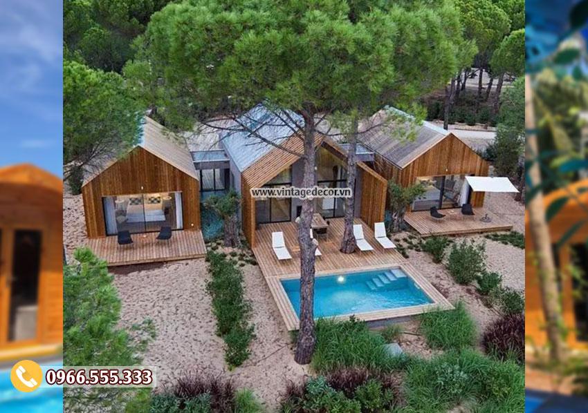 Mẫu nhà gỗ bến rừng khu nghỉ dưỡng NB76