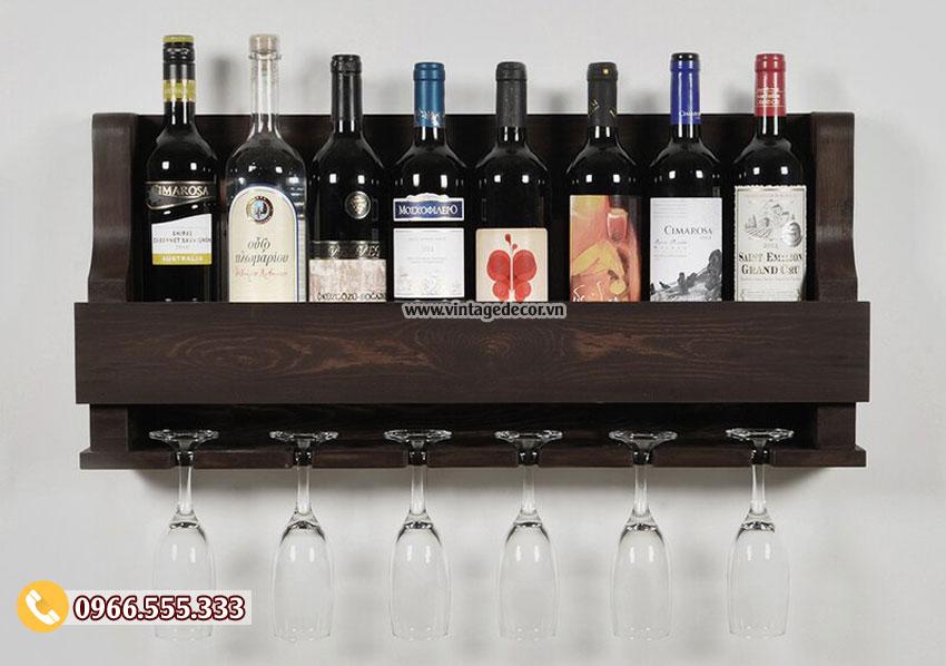 Mẫu kệ rượu vang treo tường gỗ sồi đẹp TBR198