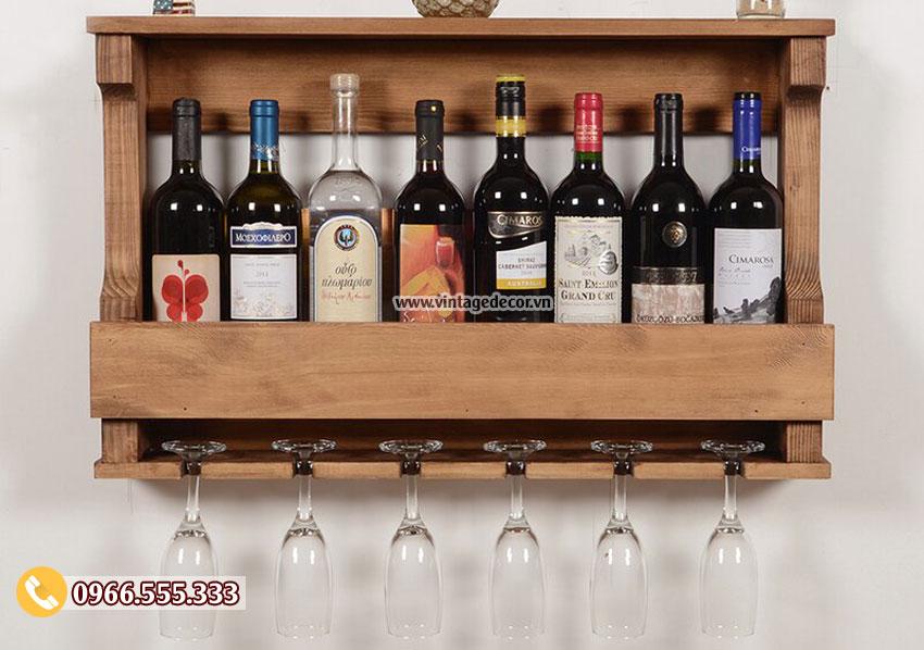 Mẫu kệ rượu vang treo tường đẹp TBR202